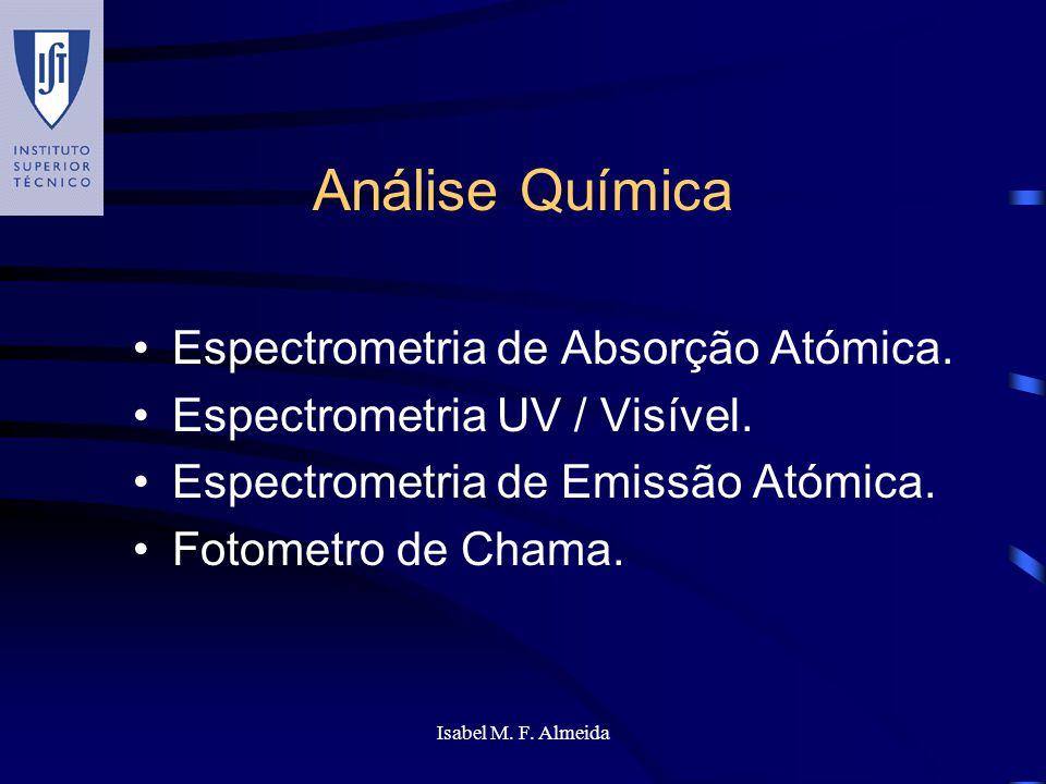 Isabel M. F. Almeida Análise Química Espectrometria de Absorção Atómica. Espectrometria UV / Visível. Espectrometria de Emissão Atómica. Fotometro de