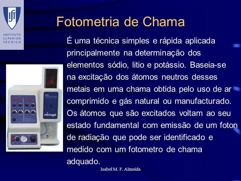 Isabel M. F. Almeida Fotometria de Chama É uma técnica simples e rápida aplicada principalmente na determinação dos elementos sódio, litio e potássio.