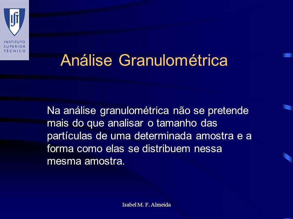 Isabel M. F. Almeida Análise Granulométrica Na análise granulométrica não se pretende mais do que analisar o tamanho das partículas de uma determinada