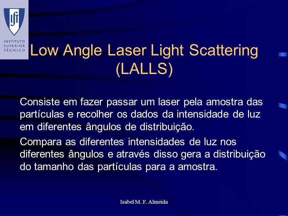 Isabel M. F. Almeida Low Angle Laser Light Scattering (LALLS) Consiste em fazer passar um laser pela amostra das partículas e recolher os dados da int