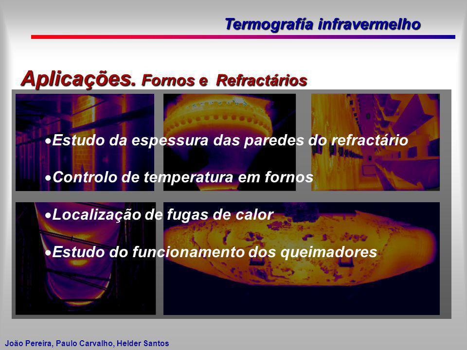Termografía infravermelho João Pereira, Paulo Carvalho, Helder Santos Aplicações. Fornos e Refractários Estudo da espessura das paredes do refractário