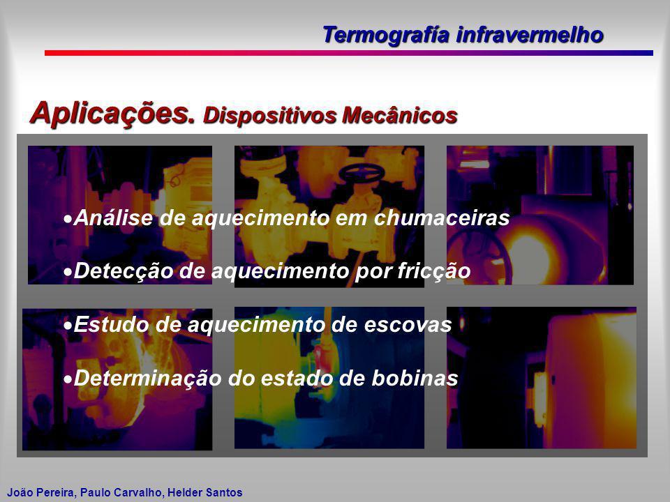 Termografía infravermelho João Pereira, Paulo Carvalho, Helder Santos Aplicações. Dispositivos Mecânicos Análise de aquecimento em chumaceiras Detecçã