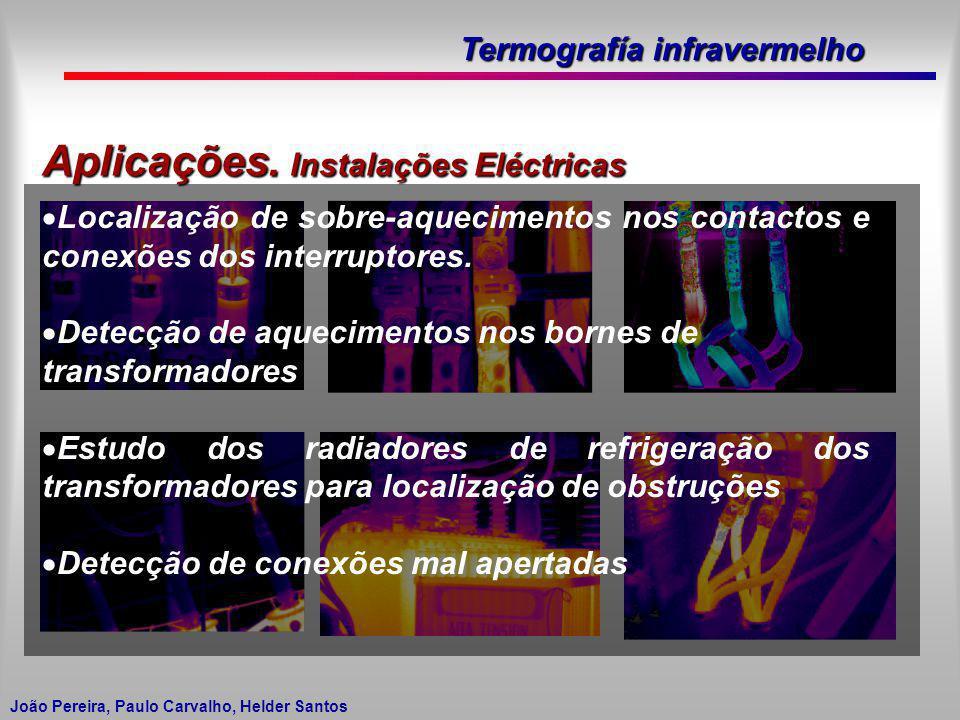 Termografía infravermelho João Pereira, Paulo Carvalho, Helder Santos Aplicações. Instalações Eléctricas Localização de sobre-aquecimentos nos contact