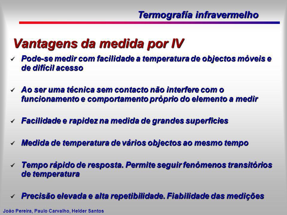Termografía infravermelho João Pereira, Paulo Carvalho, Helder Santos Vantagens da medida por IV Pode-se medir com facilidade a temperatura de objecto