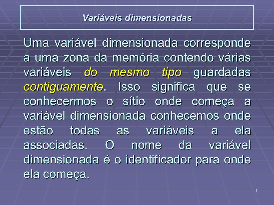 2 Variáveis dimensionadas Declaração de variável dimensionada (n_elem uma constante!!) Declaração de variável dimensionada (n_elem uma constante!!) type x[n_elem]; Inicialização: Inicialização: type x[n_elem]={a, b, c,..., z}; type x[ ]={a, b, c,..., z}; Acesso a elemento da variável: Acesso a elemento da variável:x[index] Tipos incompletos: Tipos incompletos: type x[ ];....