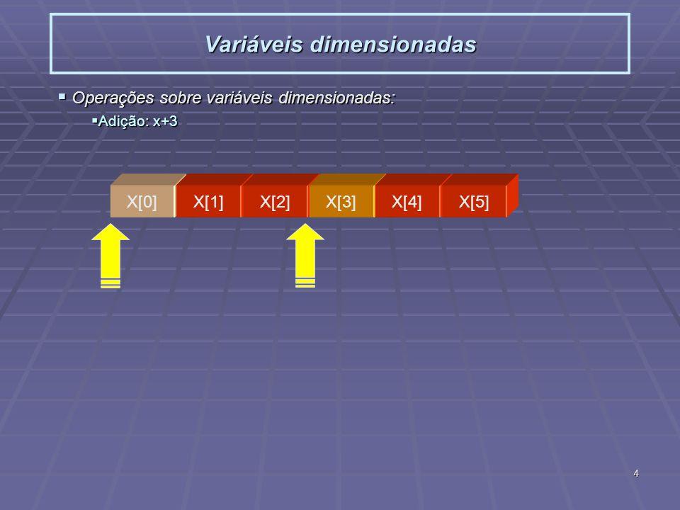 5 Variáveis dimensionadas Operações sobre variáveis dimensionadas: Operações sobre variáveis dimensionadas: Adição: ++x (x[-1],...,x[4]) Adição: ++x (x[-1],...,x[4]) X[0]X[1]X[2]X[3]X[4]X[5] X[-1] X[0]X[1]X[2]X[3]X[4]X[5]