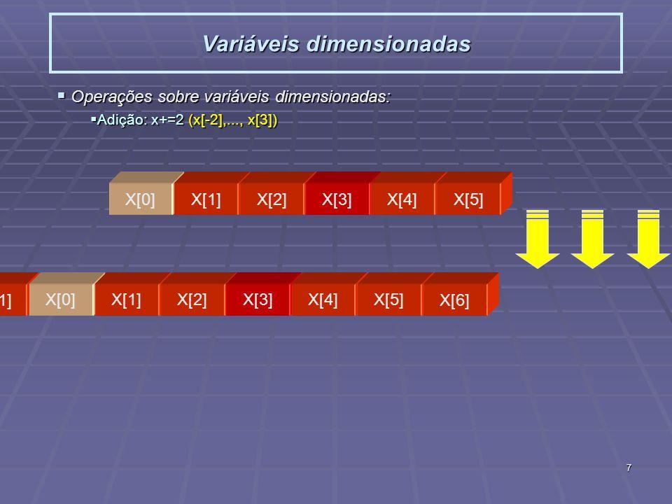 7 Variáveis dimensionadas Operações sobre variáveis dimensionadas: Operações sobre variáveis dimensionadas: Adição: x+=2 (x[-2],..., x[3]) Adição: x+=2 (x[-2],..., x[3]) X[0]X[1]X[2]X[3]X[4]X[5] X[-2]X[-1] X[0]X[1]X[2]X[3]X[4]X[5] X[6]