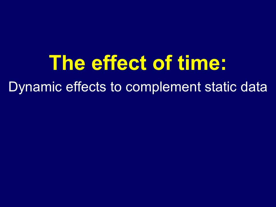 The effect of time: Dynamic effects to complement static data