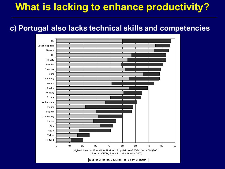 c) Portugal also lacks technical skills and competencies What is lacking to enhance productivity?