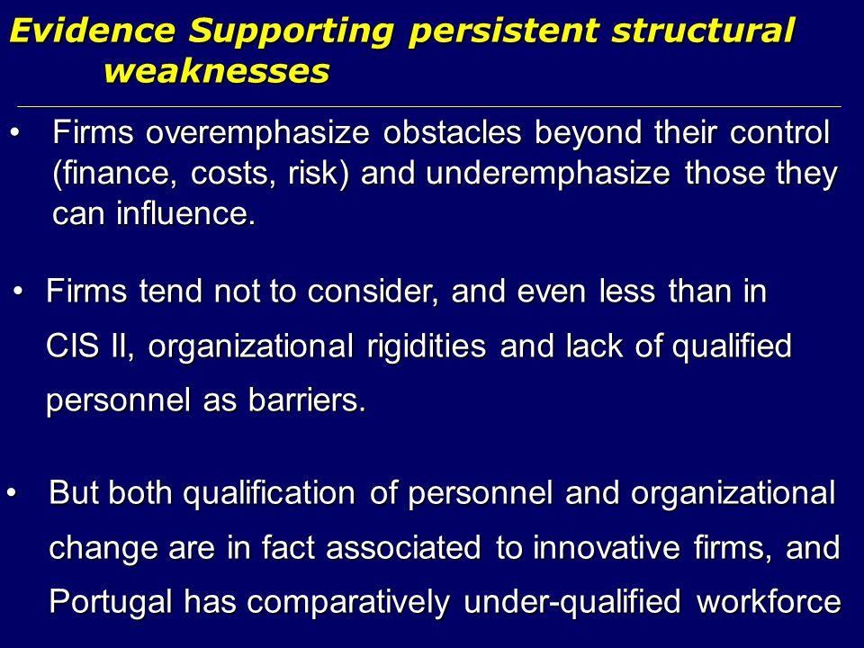 Evidence Supporting persistent structural weaknesses Firms tend not to consider, and even less than in CIS II, organizational rigidities and lack of q