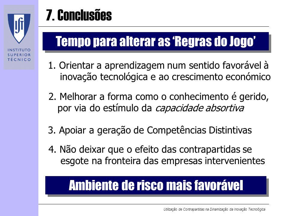 Utilização de Contrapartidas na Dinamização da Inovação Tecnológica 7. Conclusões 1. Orientar a aprendizagem num sentido favorável à inovação tecnológ