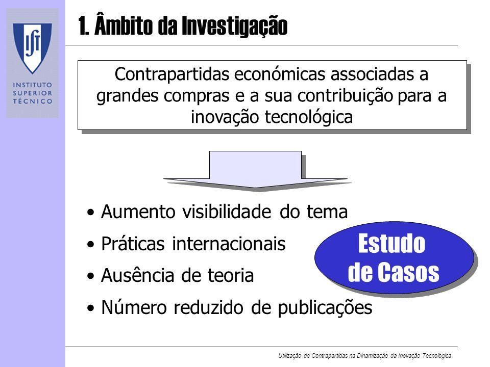 Utilização de Contrapartidas na Dinamização da Inovação Tecnológica 1. Âmbito da Investigação Contrapartidas económicas associadas a grandes compras e