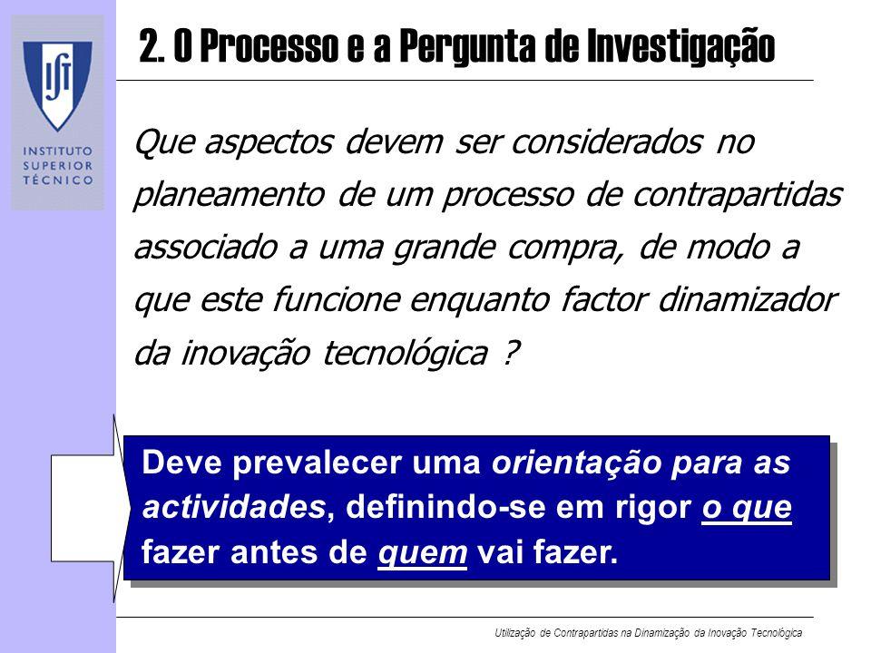 Utilização de Contrapartidas na Dinamização da Inovação Tecnológica 2. O Processo e a Pergunta de Investigação Que aspectos devem ser considerados no