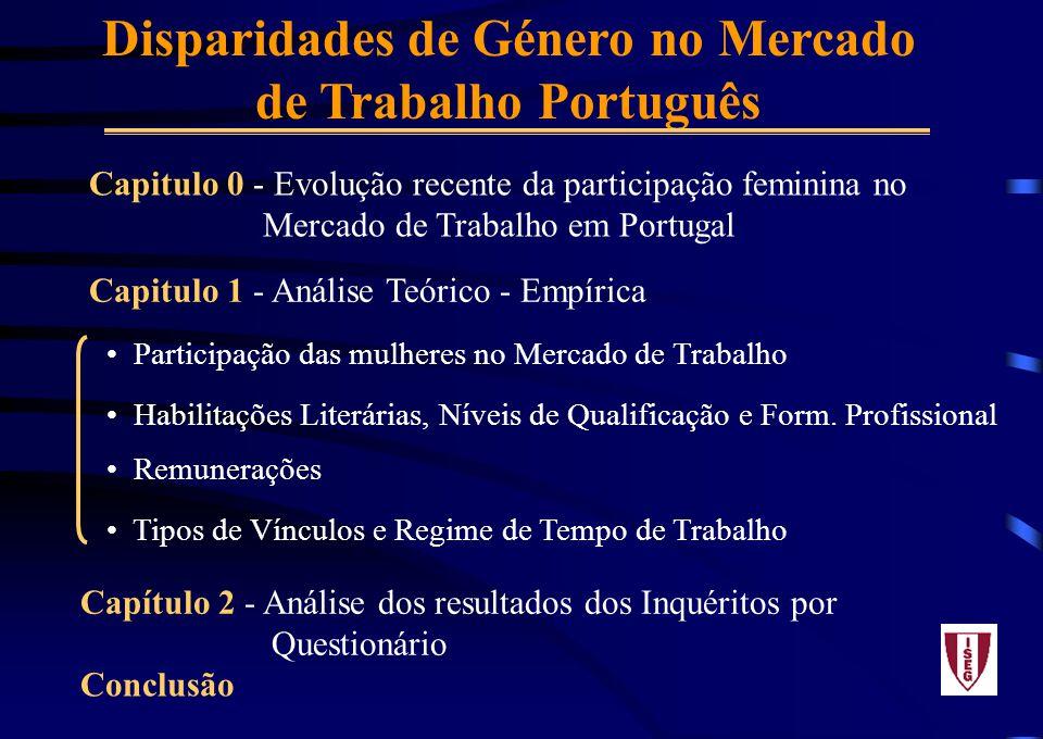Disparidades de Género no Mercado de Trabalho Português Capitulo 0 - Evolução recente da participação feminina no Mercado de Trabalho em Portugal Capitulo 1 - Análise Teórico - Empírica Participação das mulheres no Mercado de Trabalho Habilitações Literárias, Níveis de Qualificação e Form.