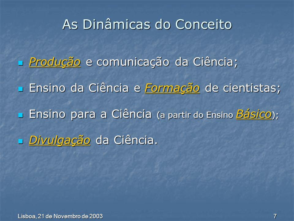 Lisboa, 21 de Novembro de 2003 8 Um Itinerário de Questões Abertas Paradoxo Paradoxo Ciência libertadora e democrática vs isolamento social da Cultura Científica e valorização dos saberes comuns.