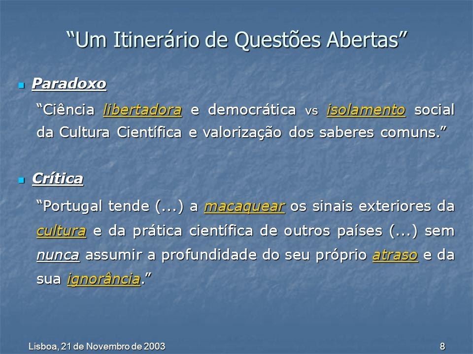 Lisboa, 21 de Novembro de 2003 9 Um Itinerário de Questões Abertas A propósito de divulgação científica(...) o efeito de vitrina(...) vem ocultar, aos olhos do público visado, a realidade científica concreta.
