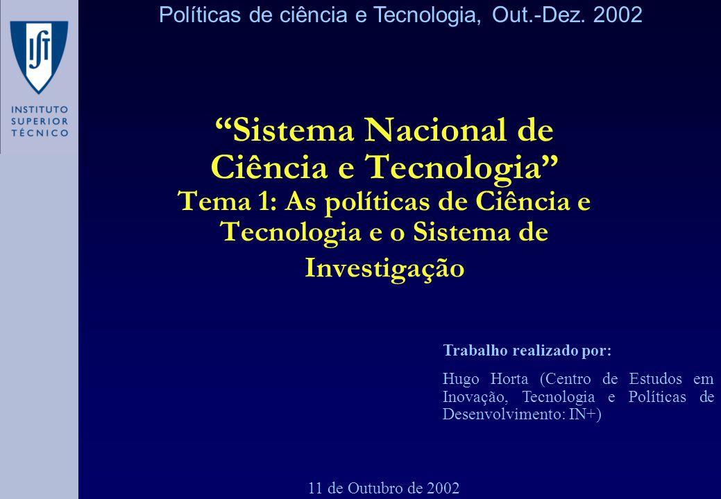 Sistema Nacional de Ciência e Tecnologia Tema 1: As políticas de Ciência e Tecnologia e o Sistema de Investigação 11 de Outubro de 2002 Trabalho reali