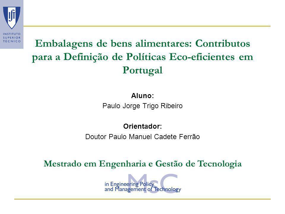 21-11- 2002 Embalagens de bens alimentares: contributos para a definição de políticas eco-eficientes em portugal 12 Método utilizado: cenários de eco-eficiência Cenário 1 – Taxa de reciclagem de 25% (método mecânico) Cenário 2 – Taxa de reciclagem de 25% (reciclagem química em estudo pelo ITN).