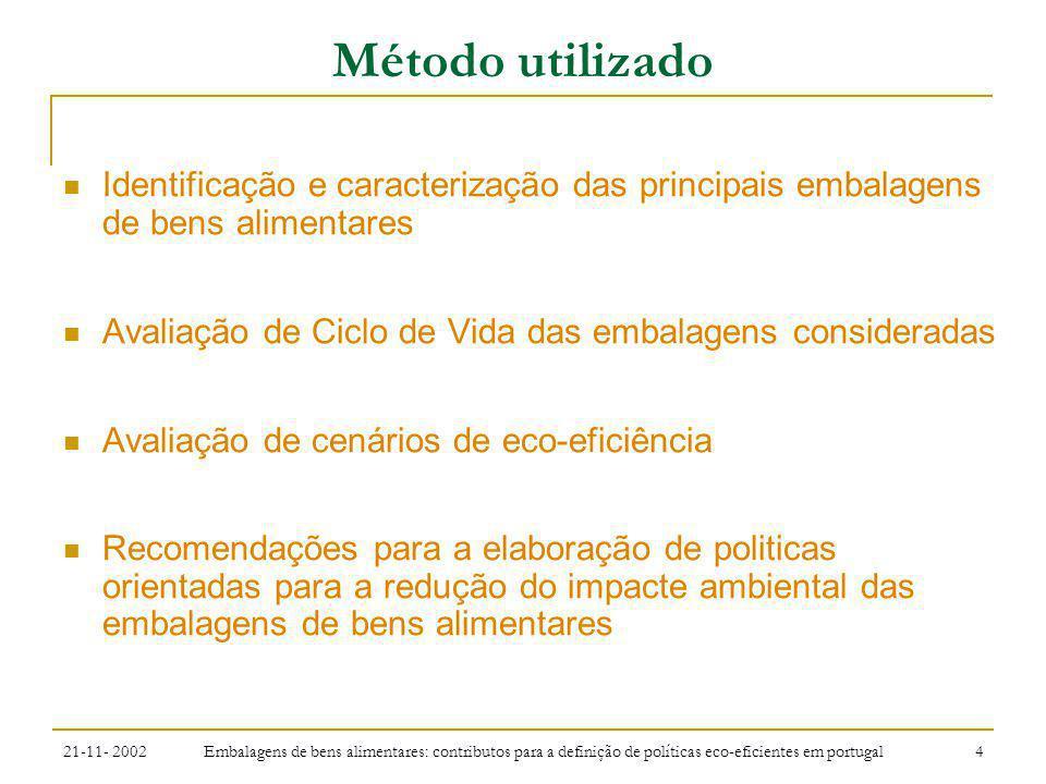 21-11- 2002 Embalagens de bens alimentares: contributos para a definição de políticas eco-eficientes em portugal 5 Método utilizado Recolha de informação AIGMA, Casa do Azeite, FIOVDE, INE, Nielsen, SPV Cerv, Embar, Fileira Metal, Plastval, Recipac.
