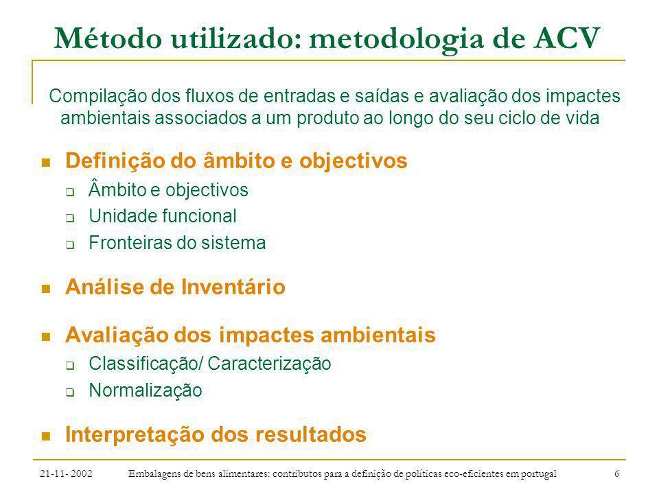 21-11- 2002 Embalagens de bens alimentares: contributos para a definição de políticas eco-eficientes em portugal 7 Método utilizado: metodologia de ACV Sistema de embalagem e processo de produção Logística associada ao sistema de embalagem