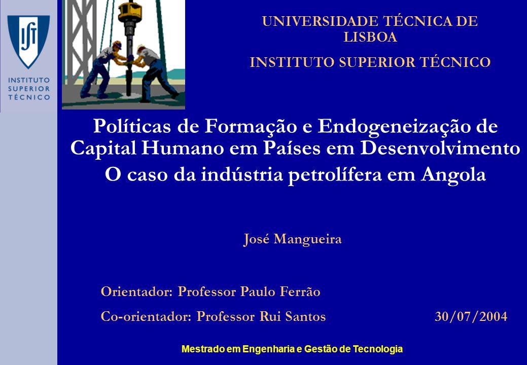 Mestrado em Engenharia e Gestão de Tecnologia José Mangueira Políticas de Formação e Endogeneização de Capital Humano em Países em Desenvolvimento O c