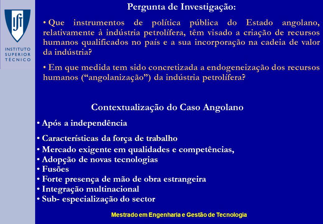 Contextualização do Caso Angolano Após a independência Características da força de trabalho Mercado exigente em qualidades e competências, Adopção de