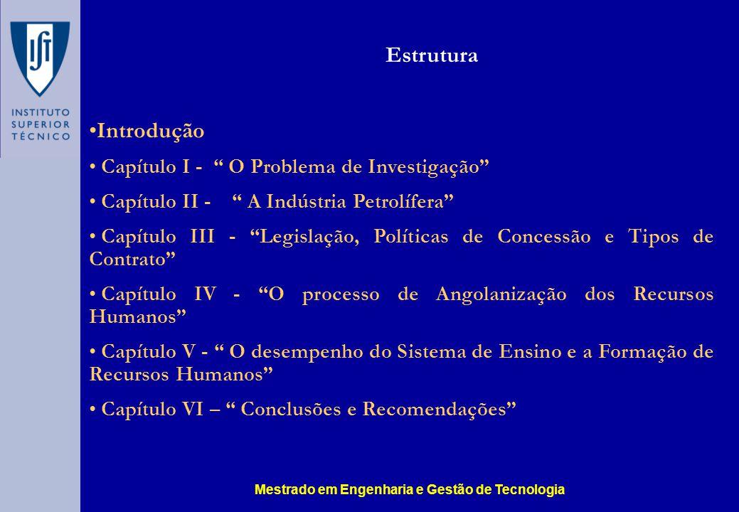 Introdução Capítulo I - O Problema de Investigação Capítulo II - A Indústria Petrolífera Capítulo III - Legislação, Políticas de Concessão e Tipos de