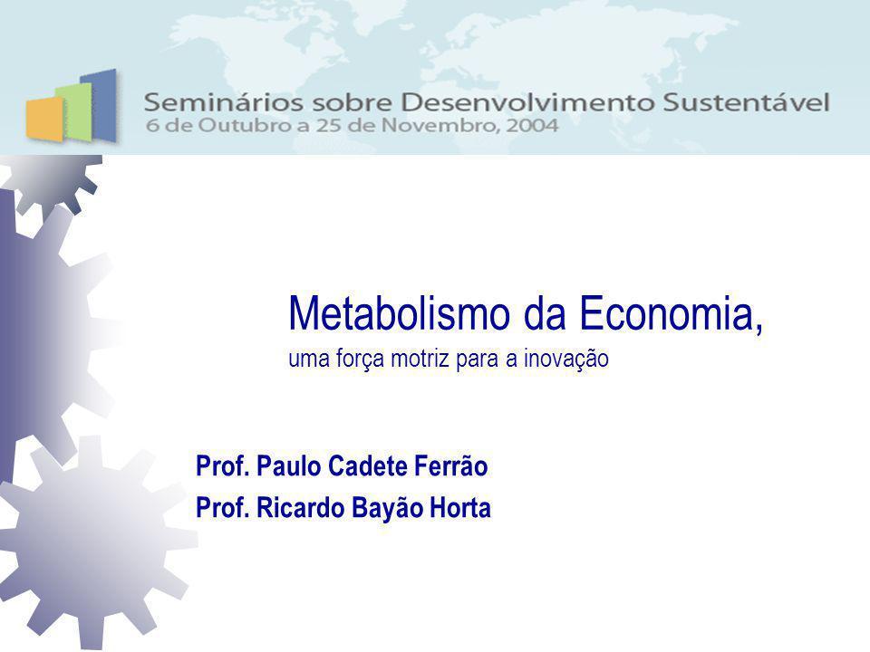Metabolismo da Economia, uma força motriz para a inovação Metabolismo da Economia, uma força motriz para a inovação Prof. Paulo Cadete Ferrão Prof. Ri