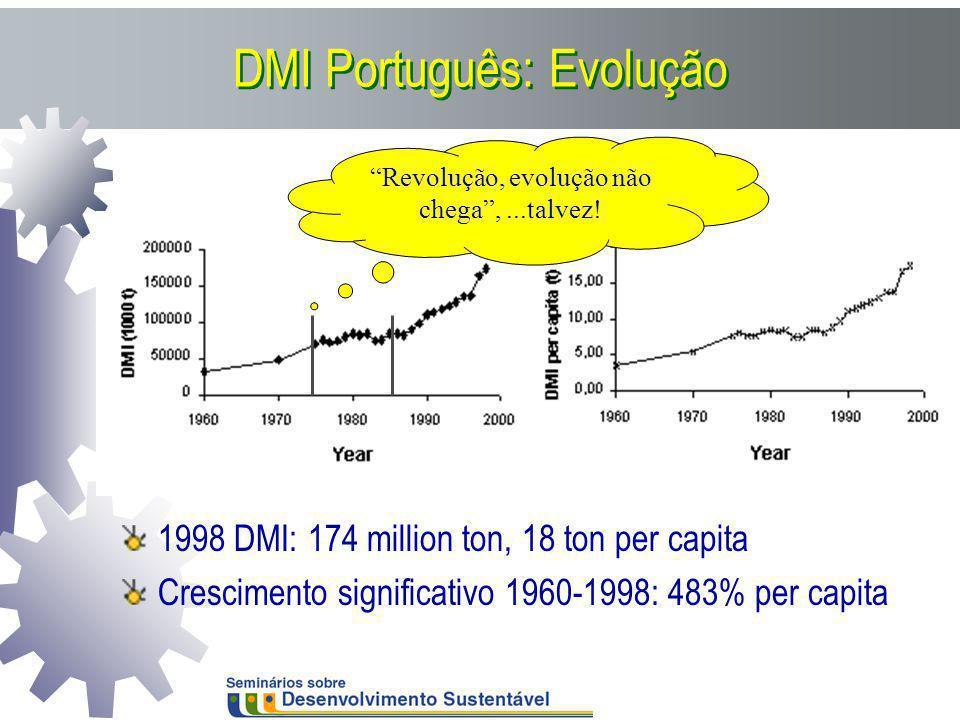 DMI Português: Evolução 1998 DMI: 174 million ton, 18 ton per capita Crescimento significativo 1960-1998: 483% per capita Revolução, evolução não cheg