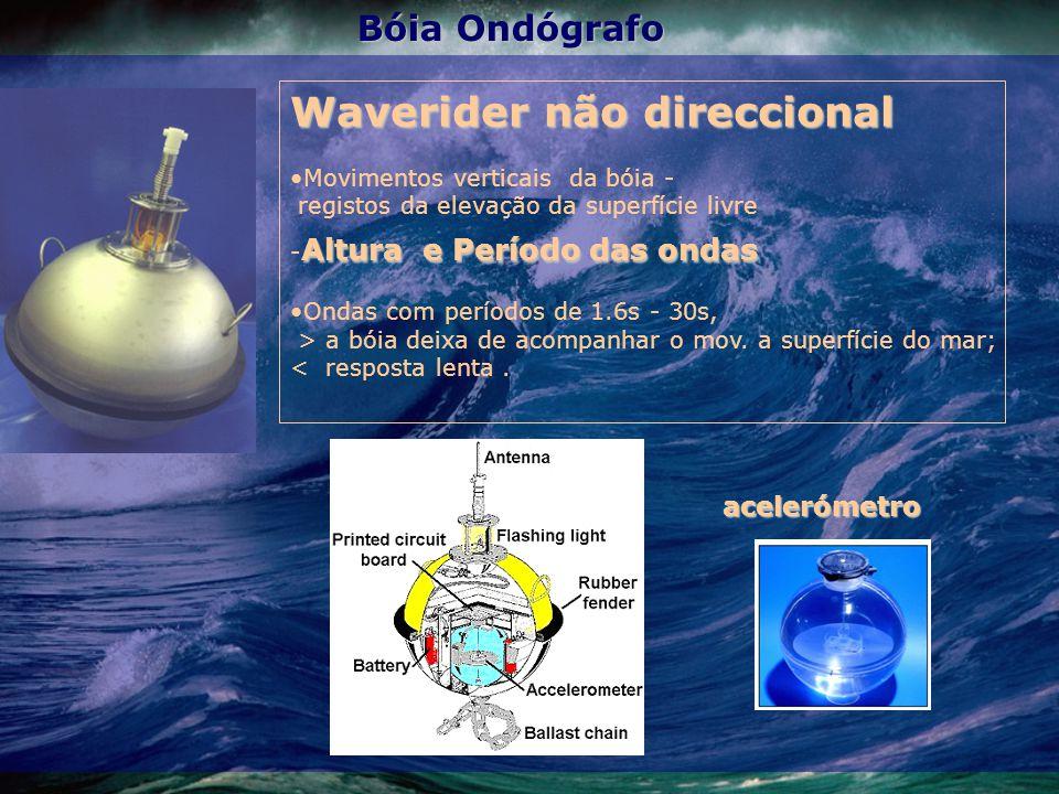 Waverider não direccional Movimentos verticais da bóia - registos da elevação da superfície livre Altura e Período das ondas - Altura e Período das on