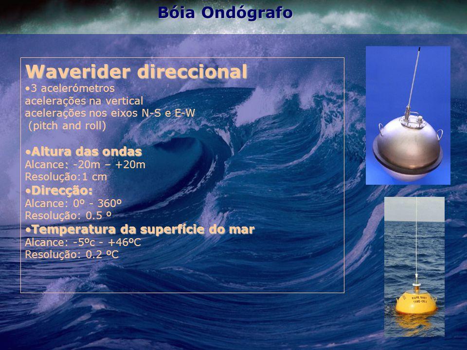 Bóia Ondógrafo Waverider direccional 3 acelerómetros acelerações na vertical acelerações nos eixos N-S e E-W (pitch and roll) Altura das ondasAltura das ondas : Alcance: -20m – +20m Resolução:1 cm Direcção:Direcção: Alcance: 0º - 360º Resolução: 0.5 º Temperatura da superfície do marTemperatura da superfície do mar Alcance: -5ºc - +46ºC Resolução: 0.2 ºC