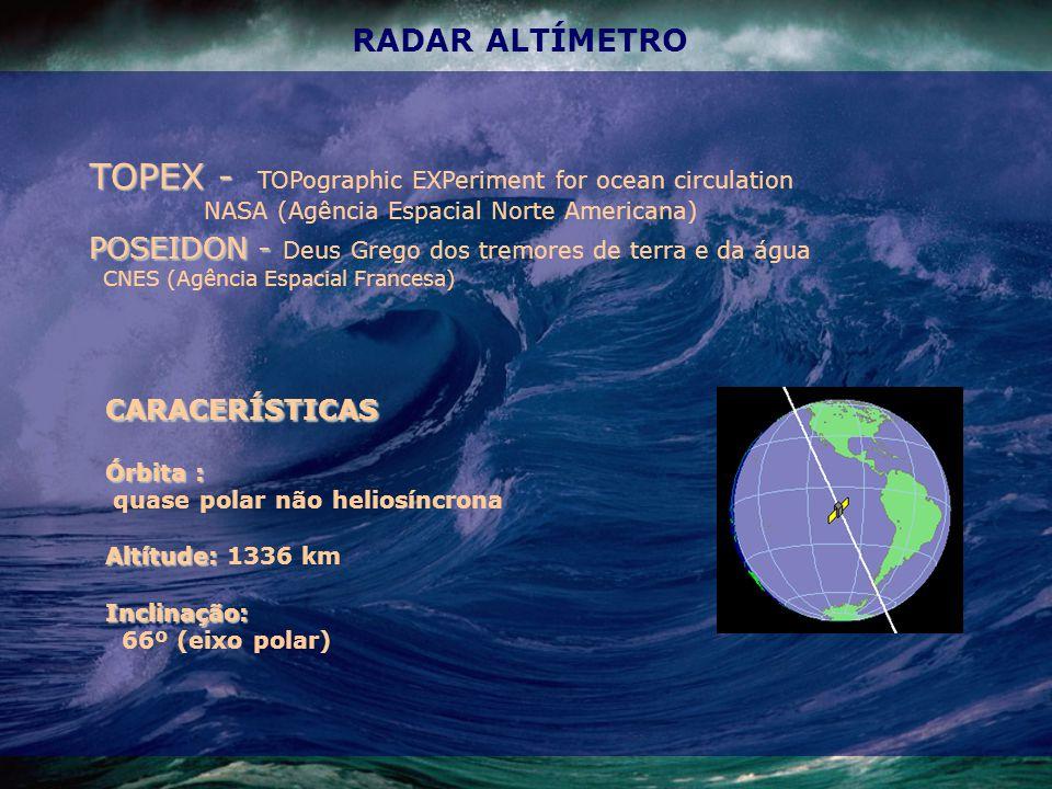 RADAR ALTÍMETRO CARACERÍSTICAS Órbita : quase polar não heliosíncrona Altítude: Altítude: 1336 kmInclinação: 66º (eixo polar) TOPEX - TOPEX - TOPographic EXPeriment for ocean circulation NASA (Agência Espacial Norte Americana) POSEIDON - POSEIDON - Deus Grego dos tremores de terra e da água CNES (Agência Espacial Francesa)