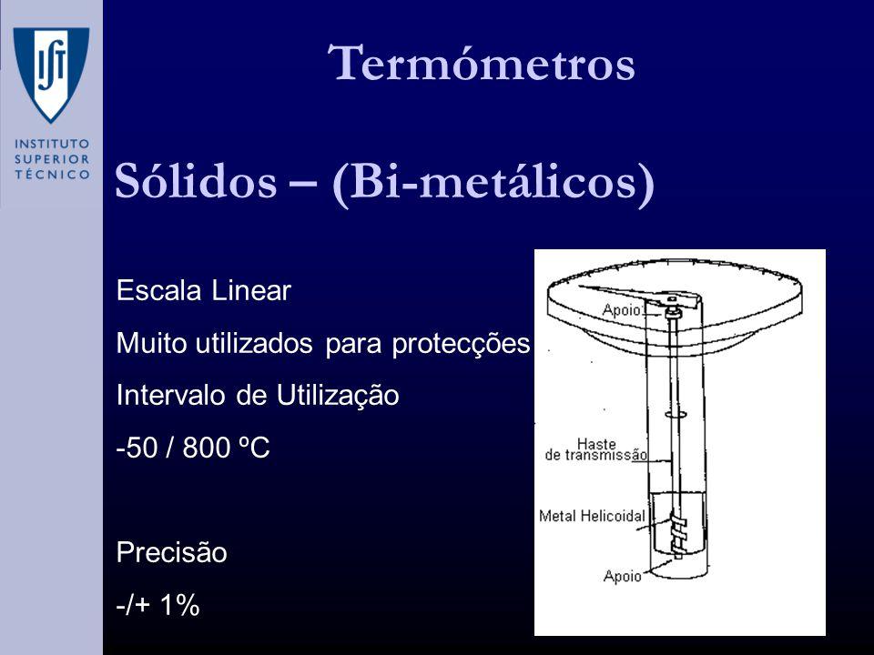 Termómetros Sólidos – (Bi-metálicos) Escala Linear Muito utilizados para protecções Intervalo de Utilização -50 / 800 ºC Precisão -/+ 1%