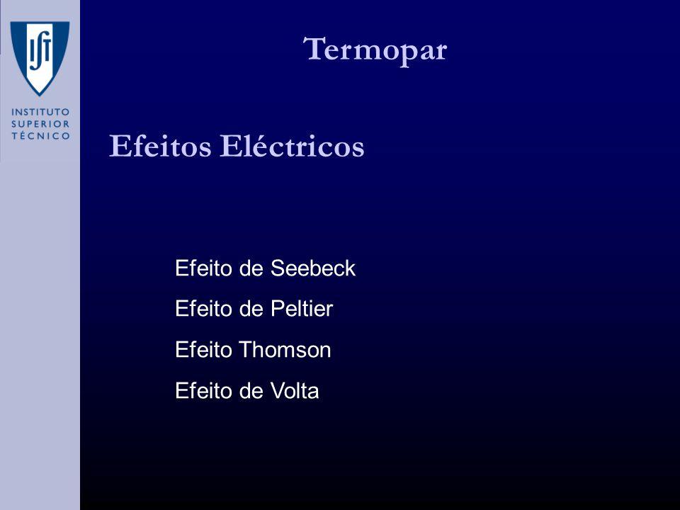 Efeitos Eléctricos Efeito de Seebeck Efeito de Peltier Efeito Thomson Efeito de Volta