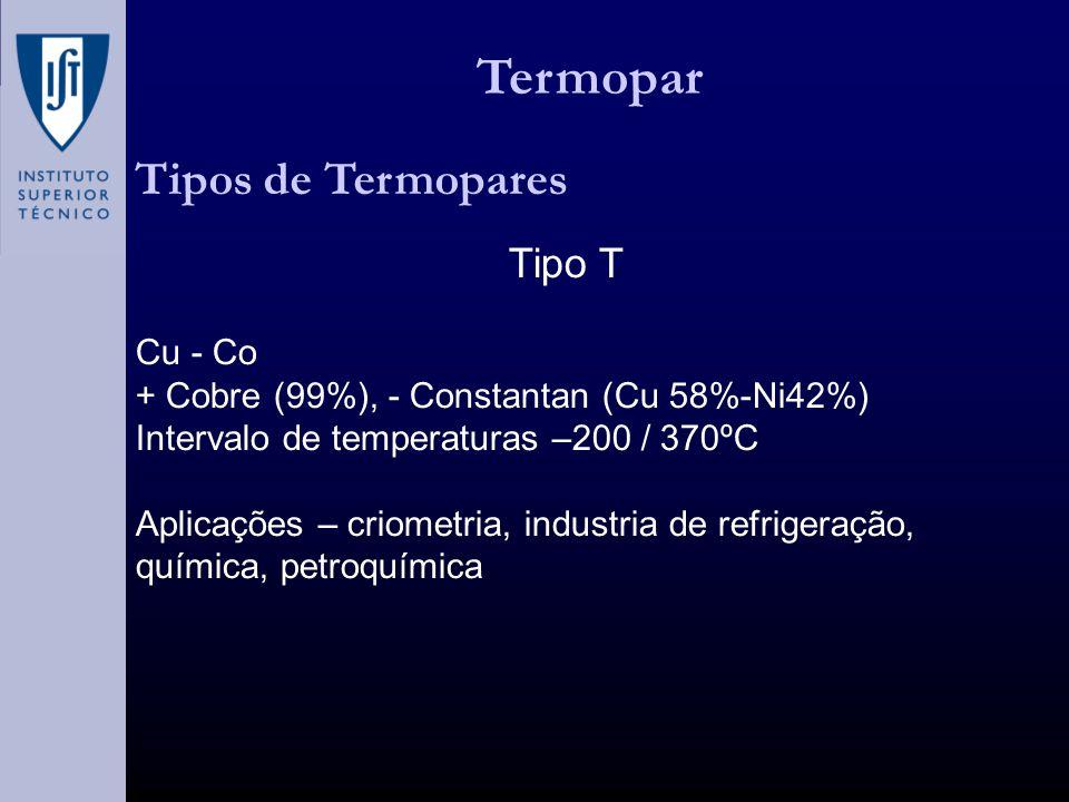 Termopar Tipos de Termopares Tipo T Cu - Co + Cobre (99%), - Constantan (Cu 58%-Ni42%) Intervalo de temperaturas –200 / 370ºC Aplicações – criometria, industria de refrigeração, química, petroquímica
