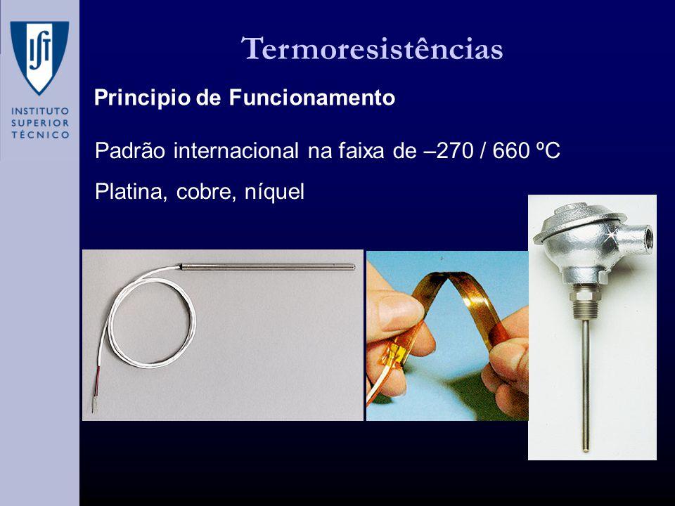 Termoresistências Principio de Funcionamento Padrão internacional na faixa de –270 / 660 ºC Platina, cobre, níquel