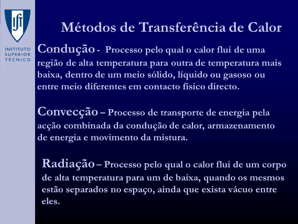 Condução - Processo pelo qual o calor flui de uma região de alta temperatura para outra de temperatura mais baixa, dentro de um meio sólido, líquido o