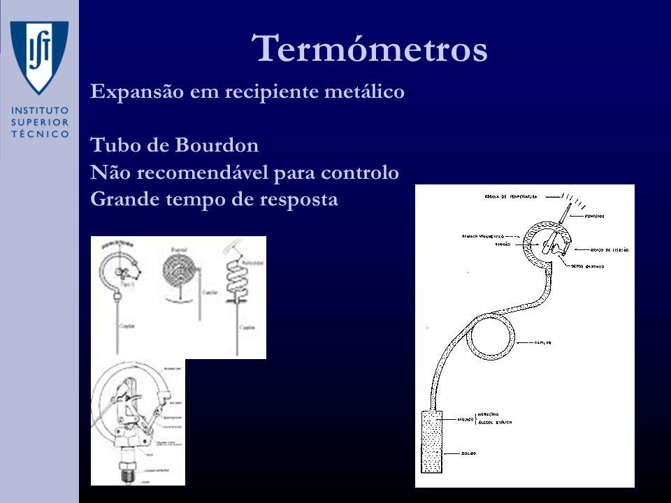 Termómetros Expansão em recipiente metálico Tubo de Bourdon Não recomendável para controlo Grande tempo de resposta