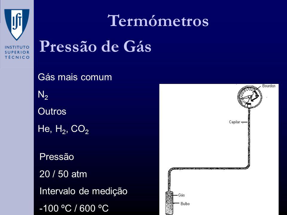 Termómetros Pressão de Gás Gás mais comum N 2 Outros He, H 2, CO 2 Pressão 20 / 50 atm Intervalo de medição -100 ºC / 600 ºC