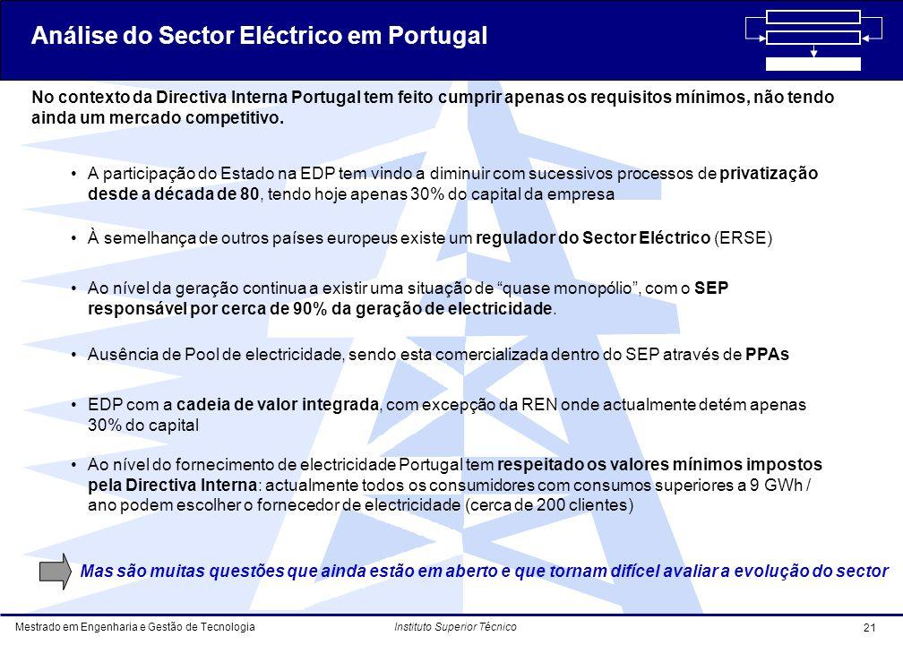 Mestrado em Engenharia e Gestão de Tecnologia 21 Instituto Superior Técnico No contexto da Directiva Interna Portugal tem feito cumprir apenas os requisitos mínimos, não tendo ainda um mercado competitivo.