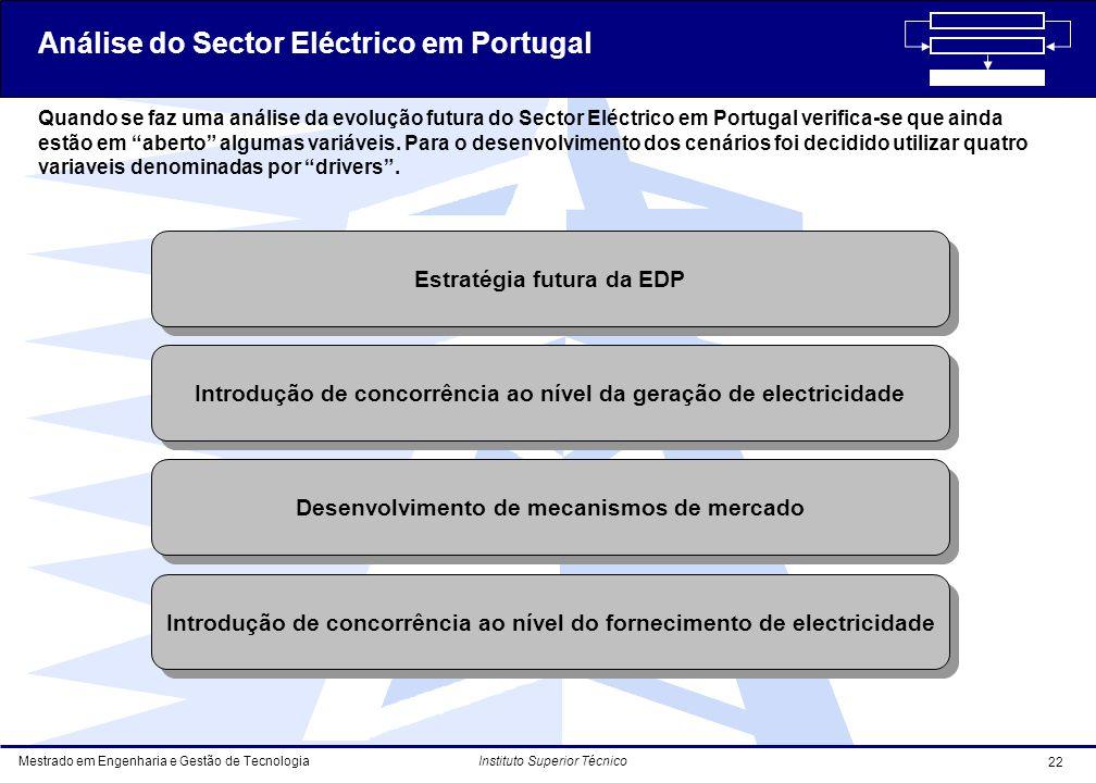 Mestrado em Engenharia e Gestão de Tecnologia 22 Instituto Superior Técnico Quando se faz uma análise da evolução futura do Sector Eléctrico em Portugal verifica-se que ainda estão em aberto algumas variáveis.