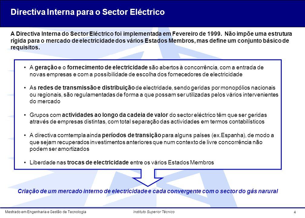 Mestrado em Engenharia e Gestão de Tecnologia 4 Instituto Superior Técnico Criação de um mercado interno de electricidade e cada convergente com o sector do gás narural A Directiva Interna do Sector Eléctrico foi implementada em Fevereiro de 1999.