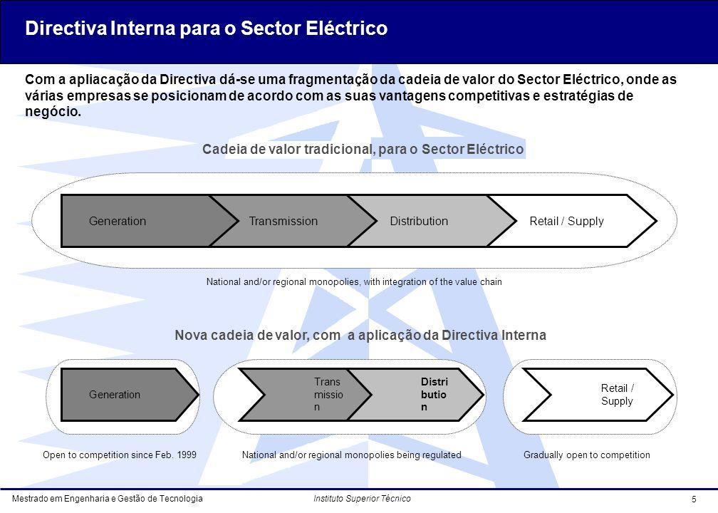 Mestrado em Engenharia e Gestão de Tecnologia 5 Instituto Superior Técnico Com a apliacação da Directiva dá-se uma fragmentação da cadeia de valor do Sector Eléctrico, onde as várias empresas se posicionam de acordo com as suas vantagens competitivas e estratégias de negócio.