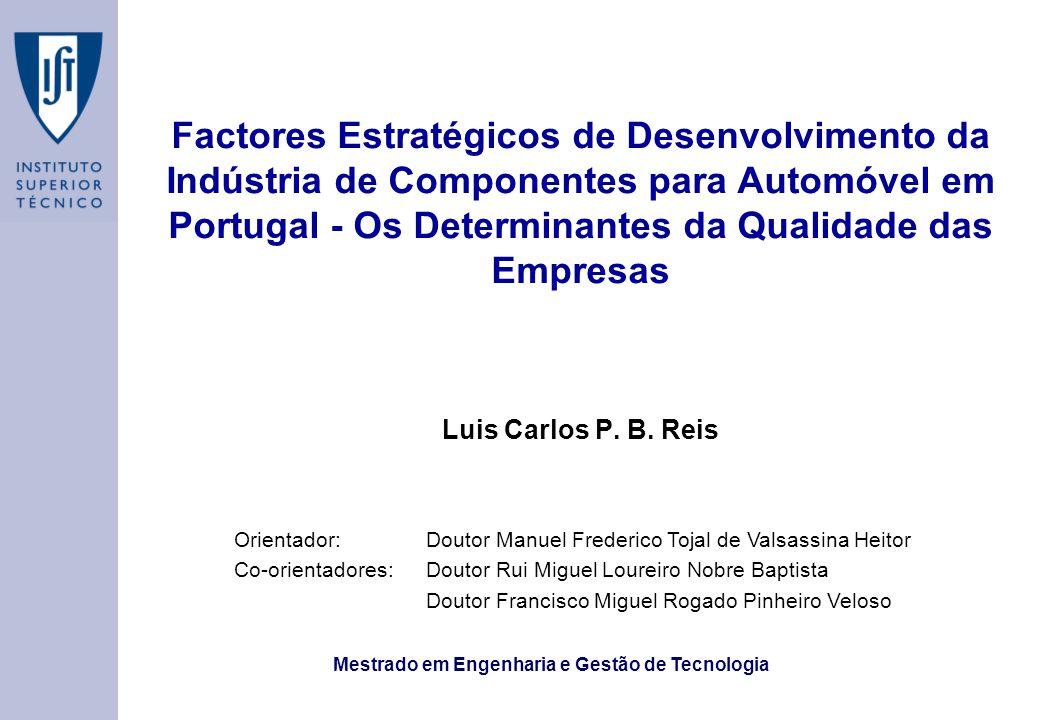 Mestrado em Engenharia e Gestão de Tecnologia Factores Estratégicos de Desenvolvimento da Indústria de Componentes para Automóvel em Portugal - Os Determinantes da Qualidade das Empresas Luis Carlos P.