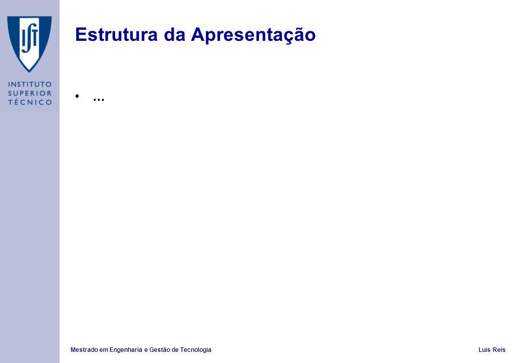 Mestrado em Engenharia e Gestão de TecnologiaLuis Reis Estrutura da Apresentação...