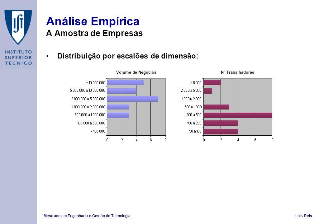 Mestrado em Engenharia e Gestão de TecnologiaLuis Reis Análise Empírica A Amostra de Empresas Distribuição por escalões de dimensão: Volume de Negócio