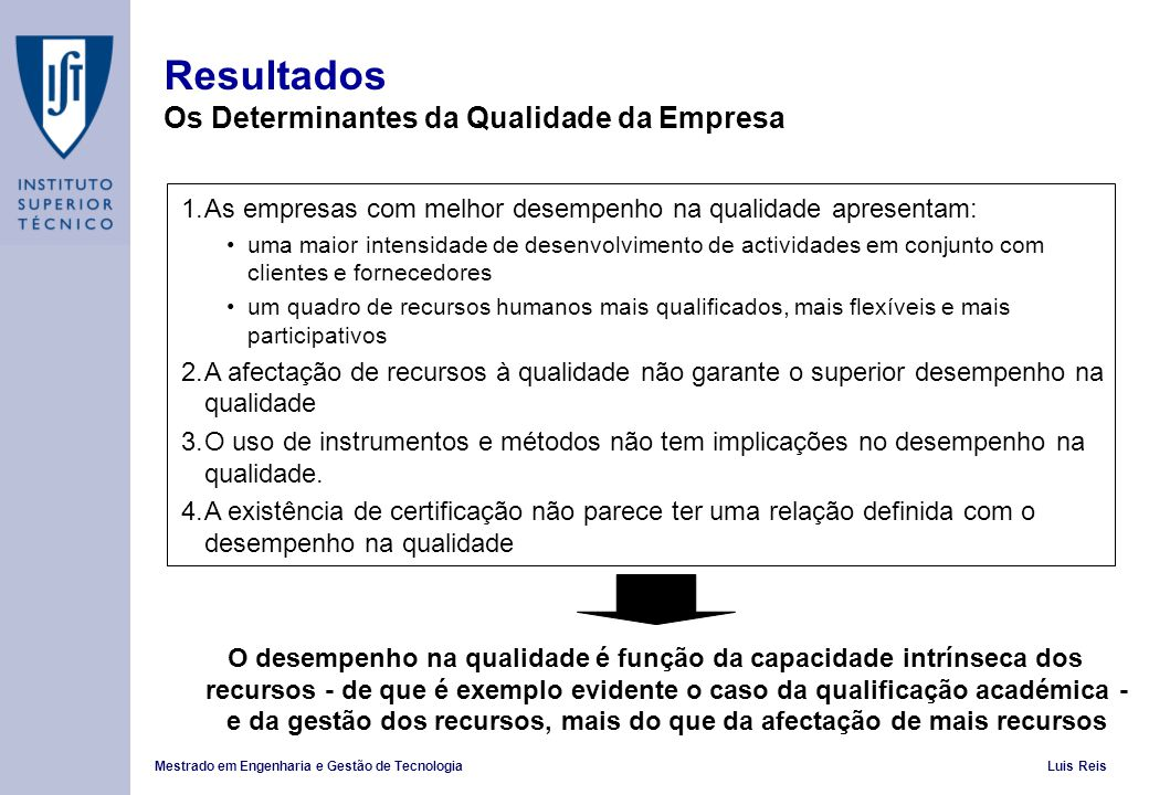 Mestrado em Engenharia e Gestão de TecnologiaLuis Reis Resultados Os Determinantes da Qualidade da Empresa 1.As empresas com melhor desempenho na qual