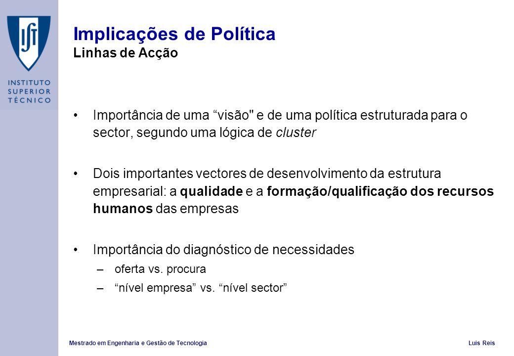 Mestrado em Engenharia e Gestão de TecnologiaLuis Reis Implicações de Política Linhas de Acção Importância de uma visão