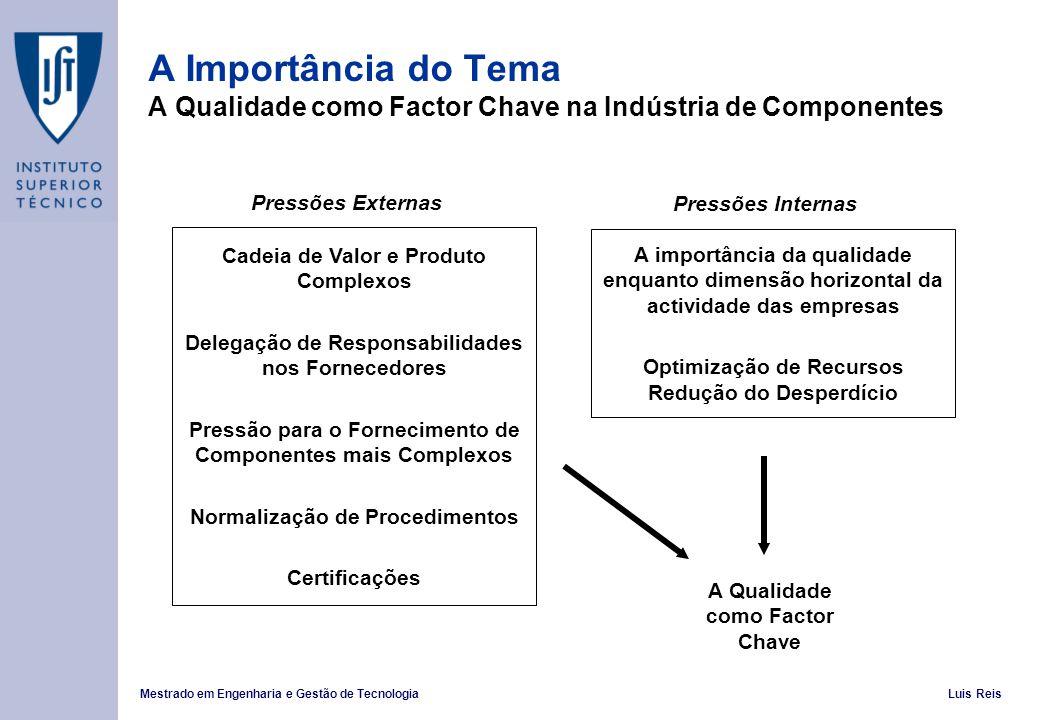 Mestrado em Engenharia e Gestão de TecnologiaLuis Reis A Importância do Tema A Qualidade como Factor Chave na Indústria de Componentes Cadeia de Valor