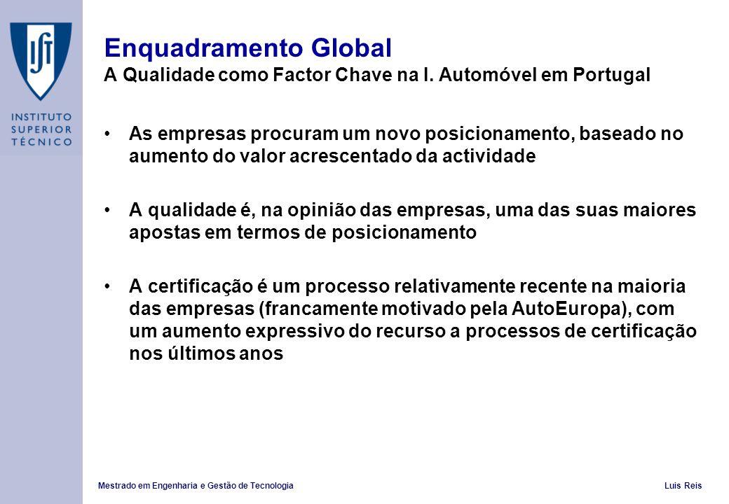 Mestrado em Engenharia e Gestão de TecnologiaLuis Reis Enquadramento Global A Qualidade como Factor Chave na I. Automóvel em Portugal As empresas proc